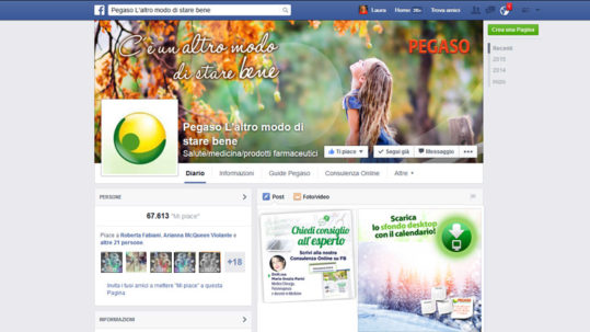 Social media management Facebook Pegaso, prodotti naturali